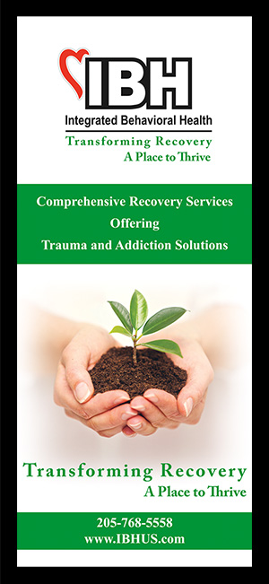 Integrated Behavioral Health Recovery Services Rack Card.