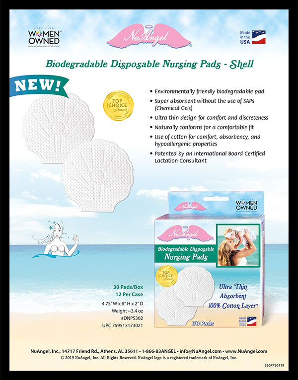 NuAngel Shell Nursing Pad Product Sheet Design.
