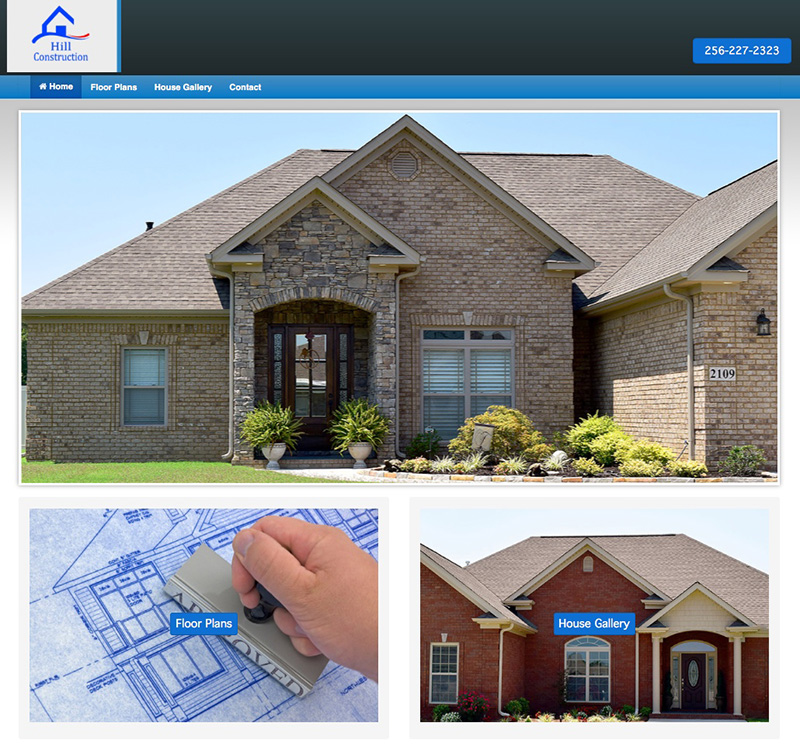 Hill Construction Website Design by Empty Tomb Graphics.