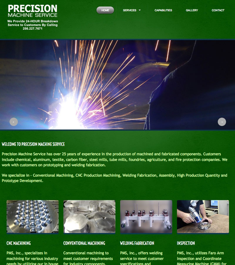 Precision Machinery Website Design by Empty Tomb Graphics.
