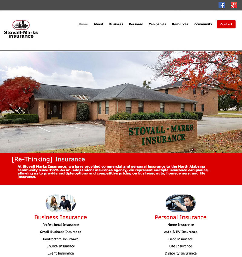Stovall-Marks Insurance Website Design by Empty Tomb Graphics.