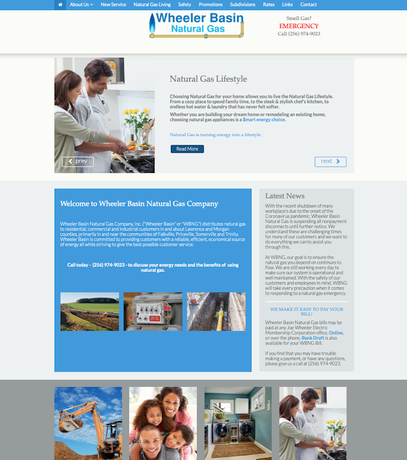 Wheeler Basin Natural Gas Company Website Design by Empty Tomb Graphics.